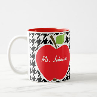 Apple on Black & White Houndstooth Two-Tone Coffee Mug