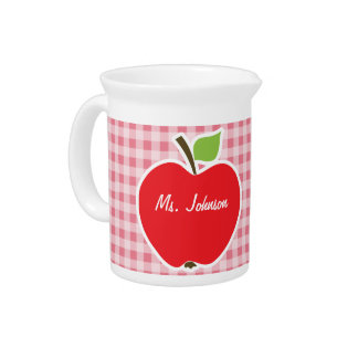Apple on Blush Pink Gingham Beverage Pitcher