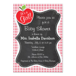 "Apple on Blush Pink Gingham 4.5"" X 6.25"" Invitation Card"