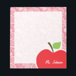 """Apple on Blush Pink Paisley Notepad<br><div class=""""desc"""">You will love this cute, red apple, teacher themed Blush Pink Paisley pattern design! This red apple design is a great gift for the world&#39;s best teacher or professor! Visit our store, Baby Shower Boutique, to view this cool, trendy pattern on many more customizable products, including modern teacher baby shower...</div>"""