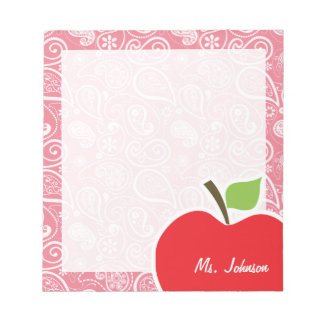 Apple on Blush Pink Paisley Notepad