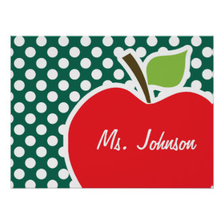 Apple on Bottle Green Polka Dots Poster
