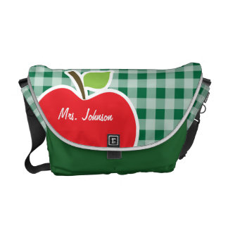 Apple on Cadmium Green Gingham Courier Bags
