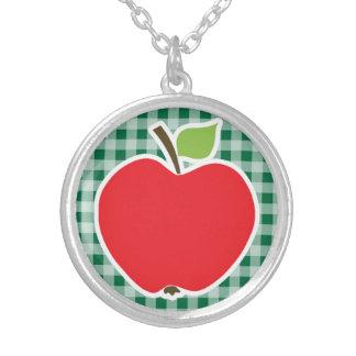 Apple on Cadmium Green Gingham Pendant