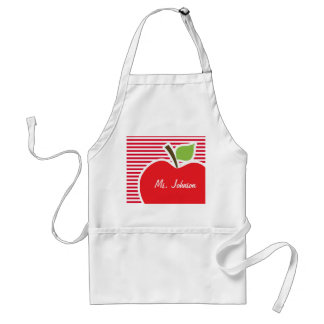 Apple on Cadmium Red Stripes; Striped Adult Apron