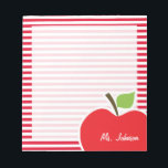 "Apple on Cadmium Red Stripes; Striped Notepad<br><div class=""desc"">You will love this cute, red apple, teacher themed Cadmium Red Stripes; Striped pattern design! This red apple design is a great gift for the world&#39;s best teacher or professor! Visit our store, Baby Shower Boutique, to view this cool, trendy pattern on many more customizable products, including modern teacher baby...</div>"