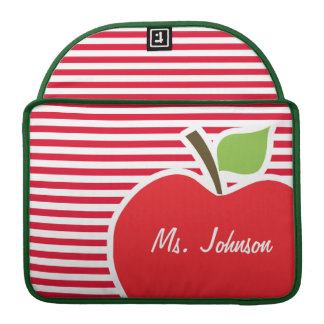 Apple on Cadmium Red Stripes; Striped Sleeve For MacBook Pro