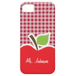 Apple on Carmine Red Gingham iPhone 5 Covers