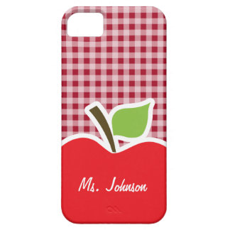 Apple on Carmine Red Gingham iPhone SE/5/5s Case