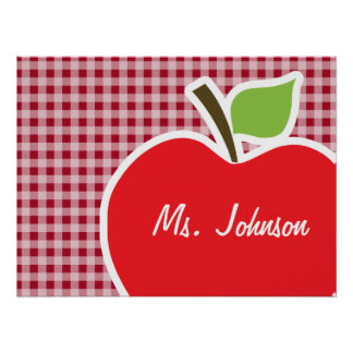 Apple on Carmine Red Gingham Poster
