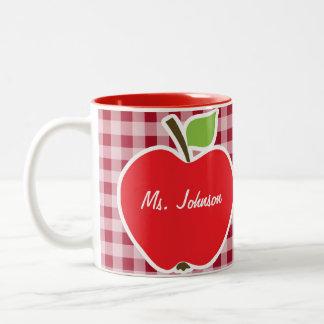 Apple on Carmine Red Gingham Two-Tone Coffee Mug