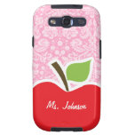 Apple on Carnation Pink Damask Pattern Galaxy SIII Cases