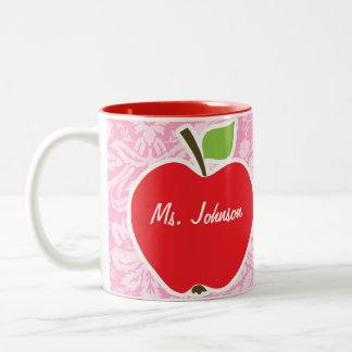 Apple on Carnation Pink Damask Pattern Coffee Mugs