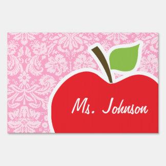 Apple on Carnation Pink Damask Pattern Yard Signs