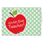 Apple on Celadon Green Polka Dots Card