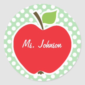 Apple on Celadon Green Polka Dots Classic Round Sticker