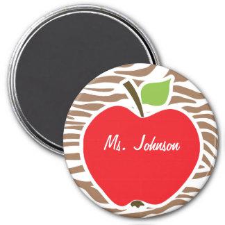Apple on Chamoisee Zebra Animal Print 3 Inch Round Magnet
