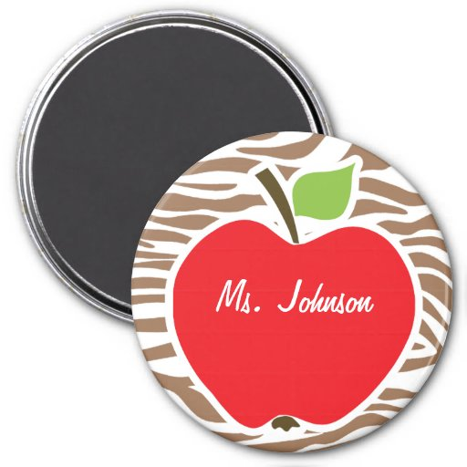 Apple on Chamoisee Zebra Animal Print Magnets