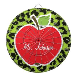 Apple on Citron Green Leopard Animal Print Dart Board