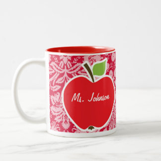 Apple on Crimson Damask Pattern Mugs