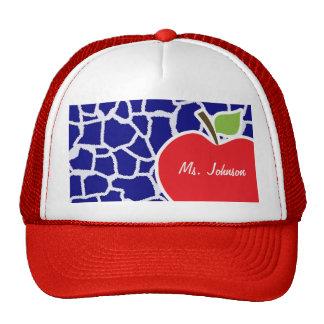 Apple on Dark Blue Giraffe Animal Print Mesh Hats