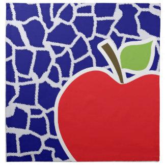 Apple on Dark Blue Giraffe Animal Print Napkin