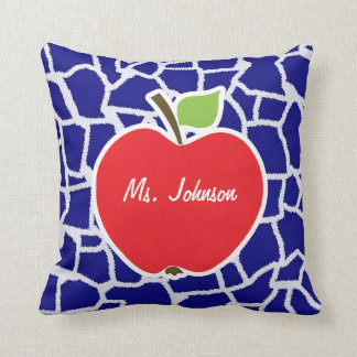 Apple on Dark Blue Giraffe Animal Print Throw Pillow
