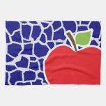 Apple on Dark Blue Giraffe Animal Print Towel