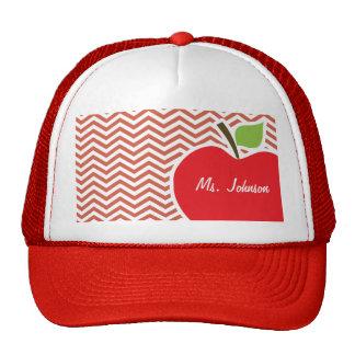 Apple on Dark Coral Chevron Trucker Hats