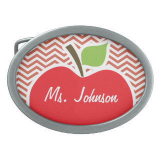Apple on Dark Coral Chevron Oval Belt Buckle