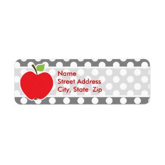 Apple on Dark Gray Polka Dots Label