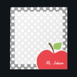 """Apple on Dark Gray Polka Dots Notepad<br><div class=""""desc"""">You will love this cute, red apple, teacher themed Dark Gray Polka Dots pattern design! This red apple design is a great gift for the world&#39;s best teacher or professor! Visit our store, Baby Shower Boutique, to view this cool, trendy pattern on many more customizable products, including modern teacher baby...</div>"""