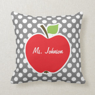 Apple on Dark Gray Polka Dots Throw Pillow