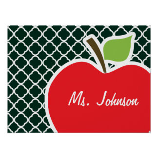 Apple on Dark Green Quatrefoil Print
