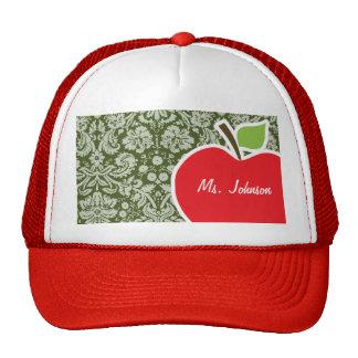 Apple on Dark Moss Green Damask Trucker Hat