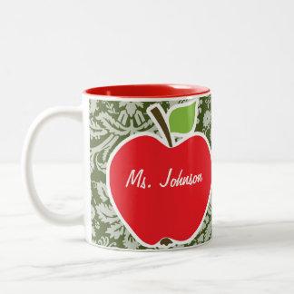 Apple on Dark Moss Green Damask Two-Tone Coffee Mug