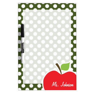 Apple on Dark Moss Green Polka Dots Dry-Erase Board