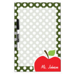 Apple on Dark Moss Green Polka Dots Dry-Erase Whiteboard
