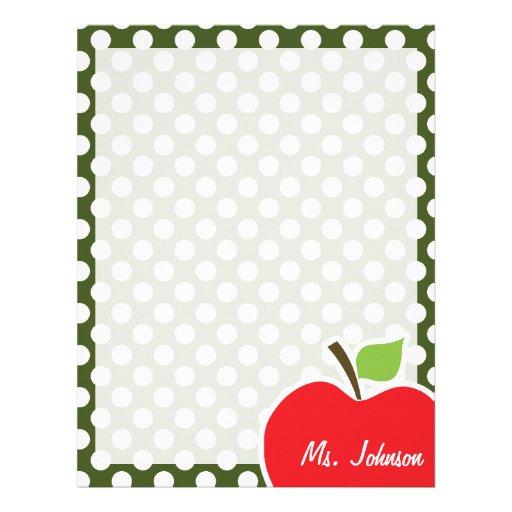 Apple on Dark Moss Green Polka Dots Letterhead