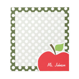 Apple on Dark Moss Green Polka Dots Notepad