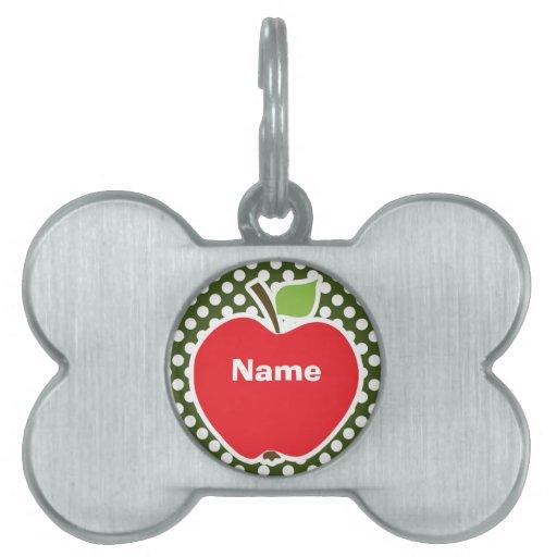 Apple on Dark Moss Green Polka Dots Pet ID Tag
