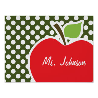 Apple on Dark Moss Green Polka Dots Posters
