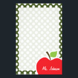 "Apple on Dark Moss Green Polka Dots Stationery<br><div class=""desc"">You will love this cute, red apple, teacher themed Dark Moss Green Polka Dots pattern design! This red apple design is a great gift for the world&#39;s best teacher or professor! Visit our store, Baby Shower Boutique, to view this cool, trendy pattern on many more customizable products, including modern teacher...</div>"