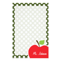Apple on Dark Moss Green Polka Dots Stationery