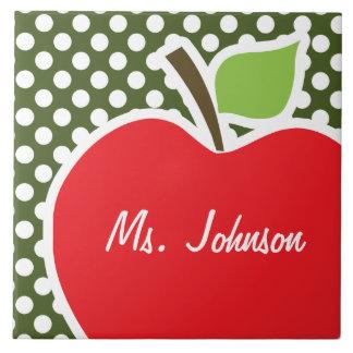 Apple on Dark Moss Green Polka Dots Large Square Tile