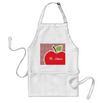 Apple on Dark Red Houndstooth Adult Apron