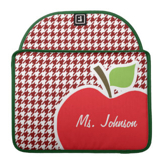 Apple on Dark Red Houndstooth Sleeves For MacBooks