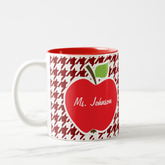 Apple on Dark Red Houndstooth Two-Tone Coffee Mug