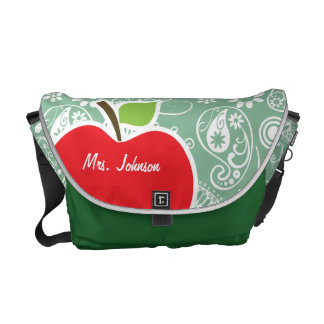 Apple on Dark Sea Green Paisley Courier Bags