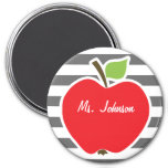 Apple on Dim Gray Horizontal Stripes 3 Inch Round Magnet
